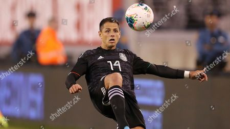 Mexico forward Javier Hernandez attempts to control the ball during an international friendly soccer match against the the United States, in East Rutherford, N.J. Mexico won 3-0
