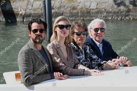 Danish actor Claes Bang, Australian actress Elizabeth Debicki, British musician Mick Jagger and Canadian actor Donald Sutherland arrive at the Lido Beach.