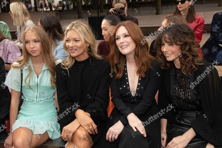 Lila Grace Moss Hack, Kate Moss, Julianne Moore, Linda Cardellini. Lila Grace Moss Hack, from left, model Kate Moss, actresses Julianne Moore and Linda Cardellini attend the Longchamp runway show at Lincoln Center during NYFW Spring/Summer 2020, in New York