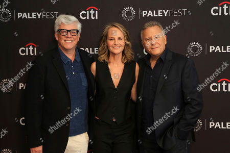 """Peter Tolan, Helen Hunt, Paul Reiser. Peter Tolan, from left, Helen Hunt and Paul Reiser attend the """"Mad About You"""" screening and panel at the 2019 PaleyFest Fall TV previews at the Paley Center for Media, in Beverly Hills, Calif"""