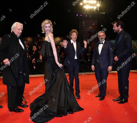 Stock Image of Director Giuseppe Capotondi, Donald Sutherland, Elizabeth Debicki, Mick Jagger and Claes Bang