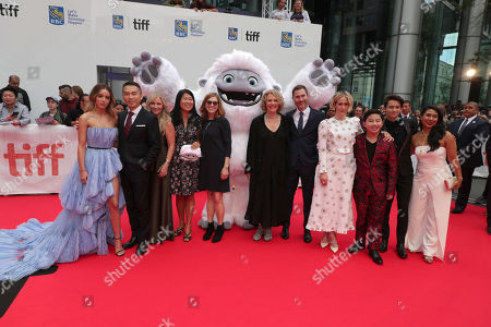 Chloe Bennet, Frank Zhu, CEO of Pearl Studio, Jill Culton, Writer/Co-Director, Peilin Chou, Producer, Margie Cohn, President of DreamWorks Animation, Everest, Suzanne Buirgy, Producer, Todd Wilderman, Co-Director, Sarah Paulson, Albert Tsai, Sherpa Tenzing Norgay Trainor and Michelle Wong seen at DreamWorks Animation and Pearl Studio present the World Premiere Gala Presentation of ABOMINABLE at the 2019 Toronto International Film Festival on Saturday, September 7, 2019 at Roy Thomson Hall in Toronto, Canada.
