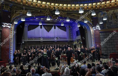 Stock Photo of British harpsichordist and conductor Laurence Cummings (C-R) and the opera singers, backed by the 'Orchestra of the Age of Enlightenment', greet the audience after performing on the stage of the Romanian Athenaeum concert hall during the George Enescu International Festival 2019, in Bucharest, Romania, 07 September 2019. Cummings and The 'Orchestra of the Age of Enlightenment' staged Christoph Willibald Gluck's opera 'Orfeo ed Euridice' (opera in concert, viennese version). The artists are (L-R, front row): German soprano Lydia Teuscher, British countertenor Iestyn Davies, Laurence Cummings, British soprano Rowan Pierce.. The festival, held every two years since 1958, is the biggest classical music festival held in Romania, in honor of Romanian composer and violinist George Enescu. The 24th edition of the George Enescu International Festival takes place between 31 August and 22 September 2019.