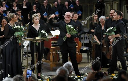 British harpsichordist and conductor Laurence Cummings (C-R) and the opera singers, backed by the 'Orchestra of the Age of Enlightenment', greet the audience after performing on the stage of the Romanian Athenaeum concert hall during the George Enescu International Festival 2019, in Bucharest, Romania, 07 September 2019. Cummings and The 'Orchestra of the Age of Enlightenment' staged Christoph Willibald Gluck's opera 'Orfeo ed Euridice' (opera in concert, viennese version). The artists are (L-R, front row): German soprano Lydia Teuscher, British soprano Rowan Pierce, Laurence Cummings, British countertenor Iestyn Davies. The festival, held every two years since 1958, is the biggest classical music festival held in Romania, in honor of Romanian composer and violinist George Enescu. The 24th edition of the George Enescu International Festival takes place between 31 August and 22 September 2019.