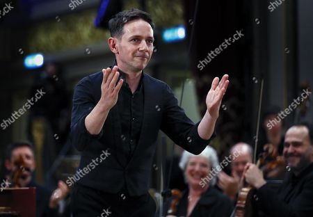 British classical countertenor Iestyn Davies, as Orfeo, greets the audience after performing with the 'Orchestra of the Age of Enlightenment' (OAE) in the Gluck's opera 'Orfeo ed Euridice', on the stage of the Romanian Athenaeum concert hall during the George Enescu International Festival 2019, in Bucharest, Romania, 07 September 2019. The festival, held every two years since 1958, is the biggest classical music festival held in Romania, in honor of Romanian composer and violinist George Enescu. The 24th edition of the George Enescu International Festival takes place between 31 August and 22 September 2019.