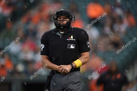Home plate umpire Jim Reynolds, right, grimaces after getting hit by a pitch in the hand by Baltimore Orioles' Aaron Brooks in the first inning of a baseball game against the Texas Rangers, in Baltimore. Reynolds left the game
