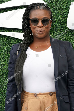 Uzo Aduba attends the women's finals of the U.S. Open tennis championships, in New York