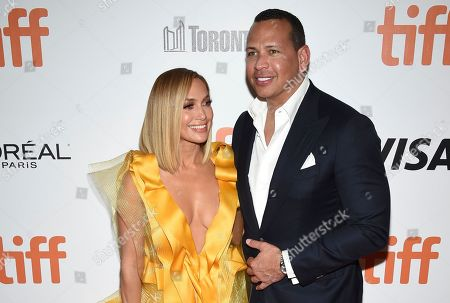 "Stock Photo of Jennifer Lopez, Alex Rodriguez. Jennifer Lopez, left, and Alex Rodriguez attend the premiere for ""Hustlers"" on day three of the Toronto International Film Festival at Roy Thomson Hall, in Toronto"