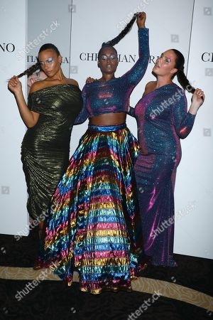 Stock Photo of Precious Lee, centre, and models wearing Christian Siriano after the runway show