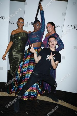Precious Lee, centre, and models wearing Christian Siriano after the runway show with Christian Siriano