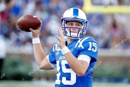 Duke's Chris Katrenick (15) passes the ball against North Carolina A&T during the first half of an NCAA college football game in Durham, N.C