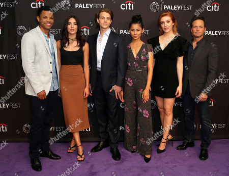 """Tunji Kasim, Maddison Jaizani, Alex Saxon, Leah Lewis, Kennedy McMann, Scott Wolf. Members of the cast, Tunji Kasim, from left, Maddison Jaizani, Alex Saxon, Leah Lewis, Kennedy McMann and Scott Wolf attend the """"Nancy Drew"""" screening and panel at the 2019 PaleyFest Fall TV previews at the Paley Center for Media, in Beverly Hills, Calif"""