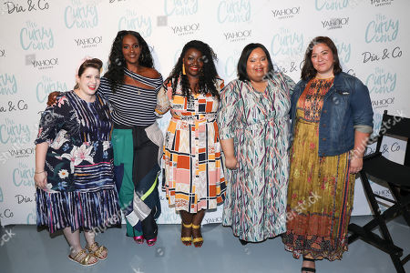 From left, Miss Pop, Ethiopia Habtemariam, Tracy Peart, Jenelle Okwodu and Bethany Heitman pose for a photo at the 5th annual theCURVYcon powered by Dia&Co on in New York