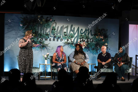 Stock Image of From left, Jes Baker, Megan Jayne Crabbe, Simone Mariposa, Mickey Boardman and Shahd Khidir speak on a panel at the 5th annual theCURVYcon powered by Dia&Co on in New York