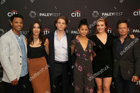 """Tunji Kasim, Maddison Jaizani, Alex Saxon, Leah Lewis, Kennedy McMann, Scott Wolf. Members of the cast Tunji Kasim, from left, Maddison Jaizani, Alex Saxon, Leah Lewis, Kennedy McMann and Scott Wolf attend the """"Nancy Drew"""" screening and panel at the 2019 PaleyFest Fall TV previews at the Paley Center for Media, in Beverly Hills, Calif"""