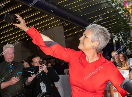 Jamie Lee Curtis takes a selfie at the screening of the movie 'Knives Out' during the 44th annual Toronto International Film Festival (TIFF) in Toronto, Canada, 07 September 2019. The festival runs 05 to 15 September.