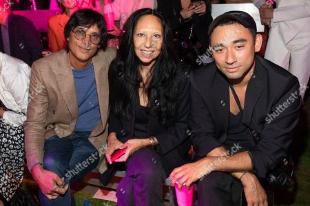 Vinoodh Matadin, Inez van Lamsweerde, Nicola Formichetti. Vinoodh Matadin, from left, Inez van Lamsweerde, and Nicola Formichetti attend the Brandon Maxwell runway show during NYFW Spring/Summer 2020, in the Brooklyn borough of New York