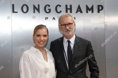 Stock Picture of Victoria Swarovski, Jean Cassegrain. Victoria Swarovski, left, and Chief Executive Officer, Longchamp SAS, Jean Cassegrain attend the Longchamp runway show at Lincoln Center during NYFW Spring/Summer 2020, in New York