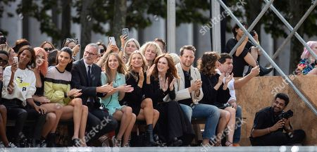 Stock Image of Liya Kebede, Charlotte Lawrence, Kendall Jenner, Jean Cassegrain, Lila Grace Moss Hack, Kate Moss, Julianne Moore, Derek Blasberg, Linda Cardellini. Liya Kebede, from left, Charlotte Lawrence, Kendall Jenner, Chief Executive Officer, Longchamp SAS, Jean Cassegrain, Lila Grace Moss Hack, Kate Moss, Julianne Moore, Derek Blasberg, and Linda Cardellini attend the Longchamp runway show at Lincoln Center during NYFW Spring/Summer 2020, in New York