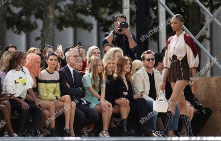 Liya Kebede, Charlotte Lawrence, Kendall Jenner, Jean Cassegrain, Lila Grace Moss Hack, Kate Moss, Julianne Moore, Derek Blasberg, Linda Cardellini. Liya Kebede, from left, Charlotte Lawrence, Kendall Jenner, Chief Executive Officer, Longchamp SAS, Jean Cassegrain, Lila Grace Moss Hack, Kate Moss, Julianne Moore, Derek Blasberg, and Linda Cardellini attend the Longchamp runway show at Lincoln Center during NYFW Spring/Summer 2020, in New York