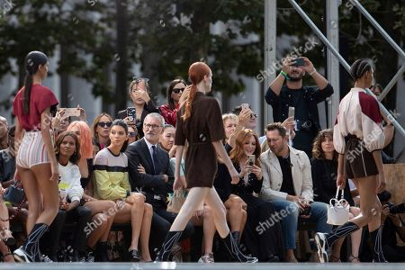 Stock Picture of Liya Kebede, Charlotte Lawrence, Kendall Jenner, Jean Cassegrain, Lila Grace Moss Hack, Kate Moss, Julianne Moore, Derek Blasberg, Linda Cardellini. Liya Kebede, from left, Charlotte Lawrence, Kendall Jenner, Chief Executive Officer, Longchamp SAS, Jean Cassegrain, Lila Grace Moss Hack, Kate Moss, Julianne Moore, Derek Blasberg, and Linda Cardellini attend the Longchamp runway show at Lincoln Center during NYFW Spring/Summer 2020, in New York
