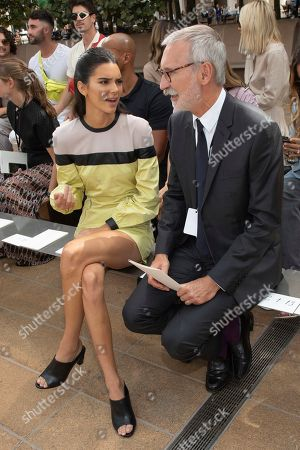 Kendall Jenner, Jean Cassegrain. Model Kendall Jenner, left, and Chief Executive Officer, Longchamp SAS, Jean Cassegrain attend the Longchamp runway show at Lincoln Center during NYFW Spring/Summer 2020, in New York