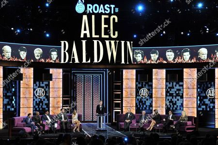Ken Jeong, Chris Redd, Jeff Ross, Blake Griffin, Nikki Glaser, Sean Hayes, Alec Baldwin, Robert De Niro, Caitlyn Jenner, Adam Carolla, Caroline Rhea. Ken Jeong, from left, Chris Redd, Jeff Ross, Blake Griffin, Nikki Glaser, Sean Hayes, Alec Baldwin, Robert De Niro, Caitlyn Jenner, Adam Carolla, Caroline Rhea participates in the Comedy Central roast of Alec Baldwin at the Saban Theatre, in Beverly Hills, Calif
