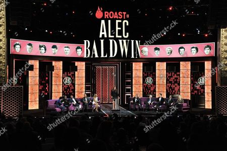 Ken Jeong, Chris Redd, Jeff Ross, Blake Griffin, Nikki Glaser, Caitlyn Jenner, Alec Baldwin, Robert De Niro, Sean Hayes, Adam Carolla, Caroline Rhea. Ken Jeong, from left, Chris Redd, Jeff Ross, Blake Griffin, Nikki Glaser, Caitlyn Jenner, Alec Baldwin, Robert De Niro, Sean Hayes, Adam Carolla and Caroline Rhea participate in the Comedy Central roast of Alec Baldwin at the Saban Theatre, in Beverly Hills, Calif