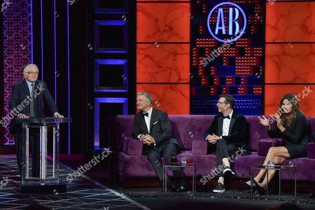 Robert De Niro, Alec Baldwin, Sean Hayes, Caitlyn Jenner. Robert De Niro, from left, Alec Baldwin, Sean Hayes and Caitlyn Jenner participate in the Comedy Central roast of Alec Baldwin at the Saban Theatre, in Beverly Hills, Calif
