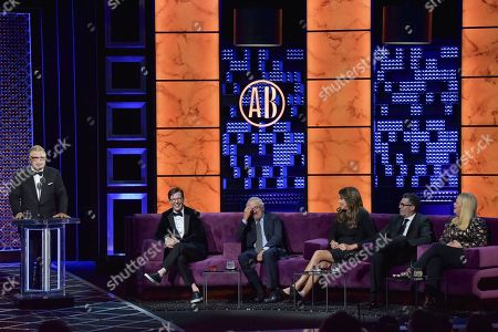 Alec Baldwin, Sean Hayes, Robert De Niro, Caitlyn Jenner, Adam Carolla, Caroline Rhea. Alec Baldwin, from left, Sean Hayes, Robert De Niro, Caitlyn Jenner, Adam Carolla and Caroline Rhea participates in the Comedy Central roast of Alec Baldwin at the Saban Theatre, in Beverly Hills, Calif