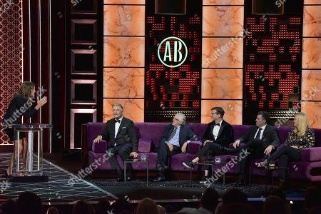 Caitlyn Jenner, Alec Baldwin, Robert De Niro, Sean Hayes. Caitlyn Jenner, from left, Alec Baldwin, Robert De Niro and Sean Hayes participate in the Comedy Central roast of Alec Baldwin at the Saban Theatre, in Beverly Hills, Calif