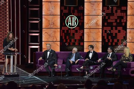 Stock Picture of Caitlyn Jenner, Alec Baldwin, Robert De Niro, Sean Hayes, Adam Carolla, Caroline Rhea. Caitlyn Jenner, from left, Alec Baldwin, Robert De Niro, Sean Hayes, Adam Carolla and Caroline Rhea participate in the Comedy Central roast of Alec Baldwin at the Saban Theatre, in Beverly Hills, Calif