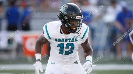 Coastal Carolina linebacker Ryan Lee during an NCAA football game against Kansas on in Lawrence, Kan