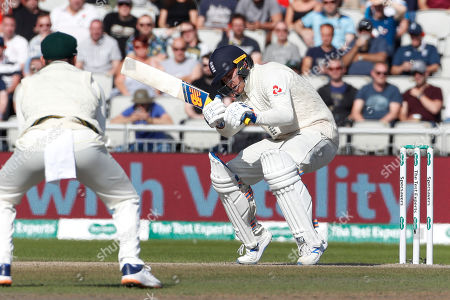 England's Jason Roy avoids a high ball during day five of the fourth Ashes Test cricket match between England and Australia at Old Trafford in Manchester, England