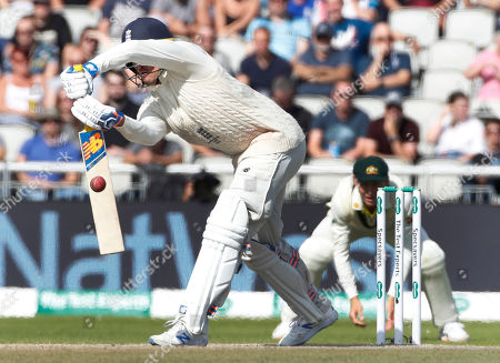 England's Jason Roy plays a defensive shot during day five of the fourth Ashes Test cricket match between England and Australia at Old Trafford in Manchester, England
