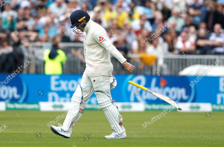 England's Jason Roy, returns to the pavilion after being dismissed during day five of the fourth Ashes Test cricket match between England and Australia at Old Trafford in Manchester, England