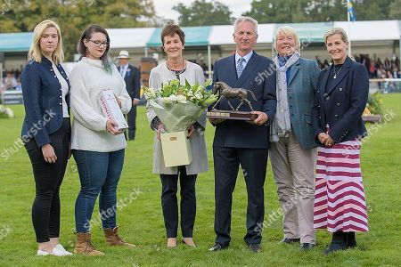 Stock Photo of HRH the Countess of Wessex and members of the Llewelyn Family present Dr John Inman with the Unsung Hero Award [The Llewelyn Trophy] to mark his retirement as Event Chief Medical Officer. The Land Rover Burghley on Sunday 8th September.
