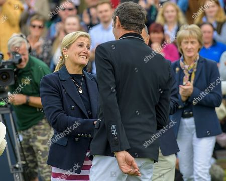 HRH the Countess of Wessex with Sir Mark Todd on his official retirement from competitive riding. The Land Rover Burghley on Sunday 8th September.