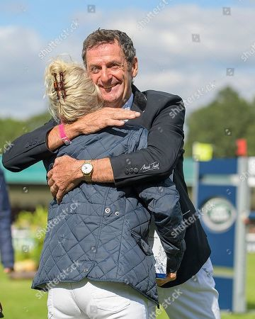 Sir Mark Todd with his wife Carolyn on his official retirement from competitive riding. The Land Rover Burghley on Sunday 8th September.
