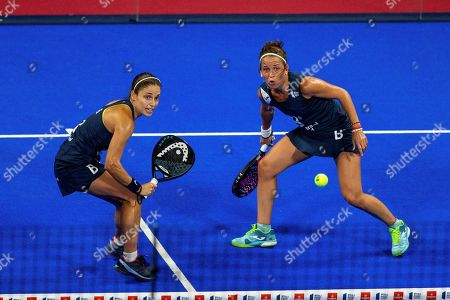 Elisabet Amatriain (L) and Patricia Llaguno in action during the final match against Ana Nogueira and Paula Josemaria at the Madrid Master 2019 of the World Padel Tour held in Madrid, Spain, 08 September 2019.
