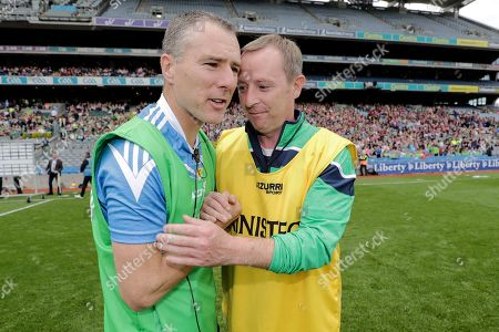 Kerry vs Limerick. Kerry manager Ian Brick and Limerick manager Kevin Connolly shake hands after the game