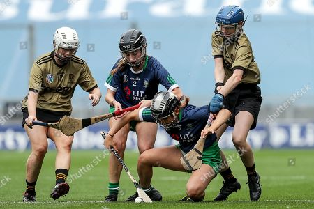 Kerry vs Limerick. Kerry's Clodagh Walsh and Olivia Dineen with Kate Herbert and Yvonne Lee of Limerick