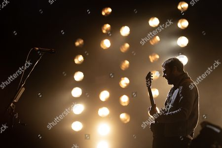 Stock Picture of Caleb Followill, lead singer of US band Kings of Leon, performs at Lollapalooza Berlin 2019 at the Olympiastadion (Olympic stadium) in Berlin, Germany, 08 September 2019. The music festival runs from 07 to 08 September.