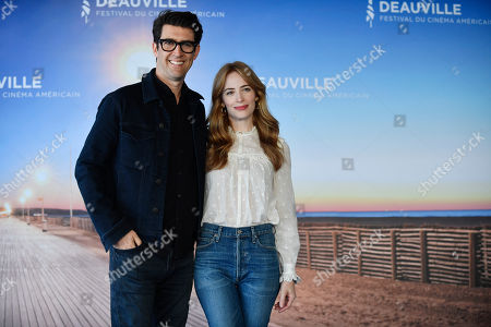 Guy Nattiv (L) and his wife, American actress Jaime Ray Newman (R), pose at the photocall for 'Skin' during the 45th Deauville American Film Festival, in Deauville, France, 08 September 2019. The festival runs from 06 to 15 September.