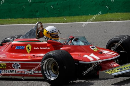 Former Formula One World Champion Jody Scheckter drives his 1979 Ferrari car to celebrate the 40th anniversary of his 1979 Formula 1 World Championship victory before the Formula One Italy Grand Prix at the Monza racetrack, in Monza, Italy