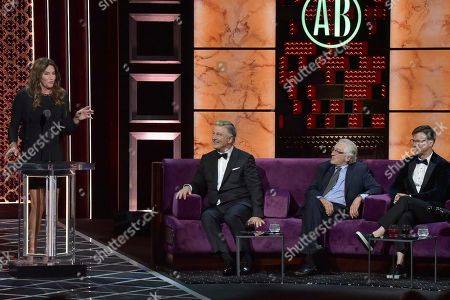 Stock Image of Caitlyn Jenner, Alec Baldwin, Robert De Niro, Sean Hayes. Caitlyn Jenner, from left, Alec Baldwin, Robert De Niro and Sean Hayes participate in the Comedy Central Roast of Alec Baldwin at the Saban Theatre, in Beverly Hills, Calif