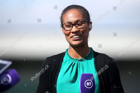 Ex-Arsenal player Rachel Yankey working for BT Sport during Arsenal Women vs West Ham United Women, Barclays FA Women's Super League Football at Meadow Park on 8th September 2019