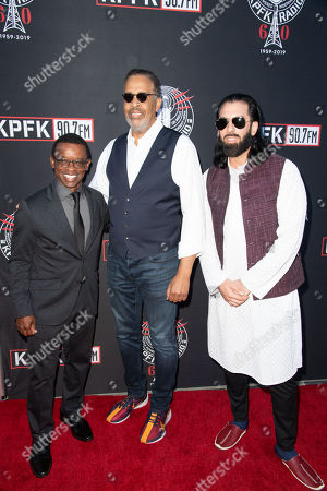 Stock Image of (L-R) Clayton Cameron, Stanley Clarke and Salar Nader