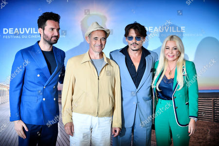 Stock Picture of Andrea Iervolino, British actor Mark Rylance, US actor Johnny Depp and Italian producers Monika Bacardi pose for the media during the photocall for 'Waiting for the Barbarians' during the 45th Deauville American Film Festival, in Deauville, France, 08 September 2019. The festival runs from 06 to 15 September.