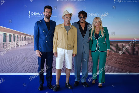 Andrea Iervolino, British US actor Mark Rylance, US actor Johnny Depp and Italian producers Monika Bacardi pose for the media during the photocall for 'Waiting for the Barbarians' during the 45th Deauville American Film Festival, in Deauville, France, 08 September 2019. The festival runs from 06 to 15 September.
